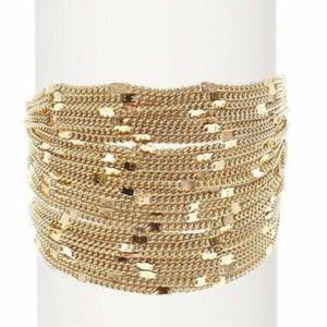 Savvy Cie 8K Gold Plated Wide Multi-Chain Bracelet